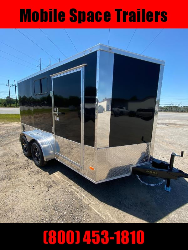 2020 Covered Wagon Trailer 7x12 Bk Motorcycle PKG w/ Windows Enclosed Cargo Trailer