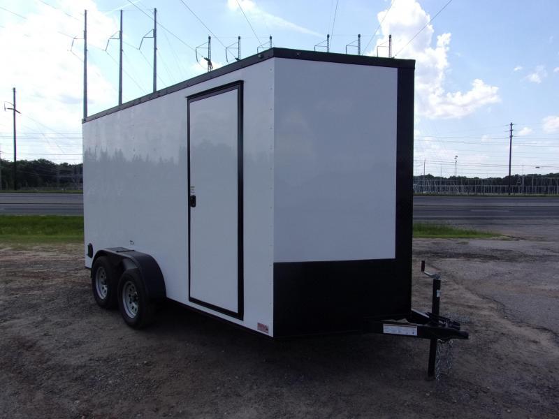"Trailer 7x14 6'3"" White Black-Out W/ Ramp Door Enclosed Cargo screwlessTrailer"