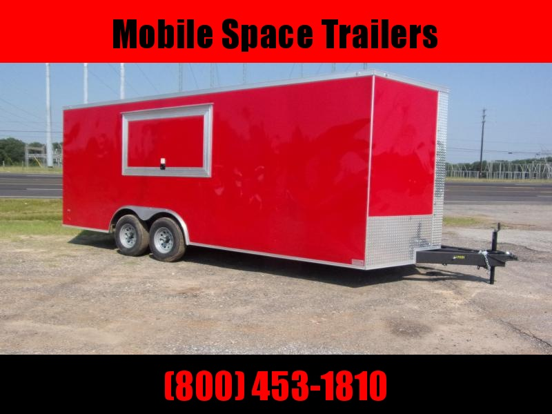 8 5X20 Red w Glass Screen Vending Concession Trailer