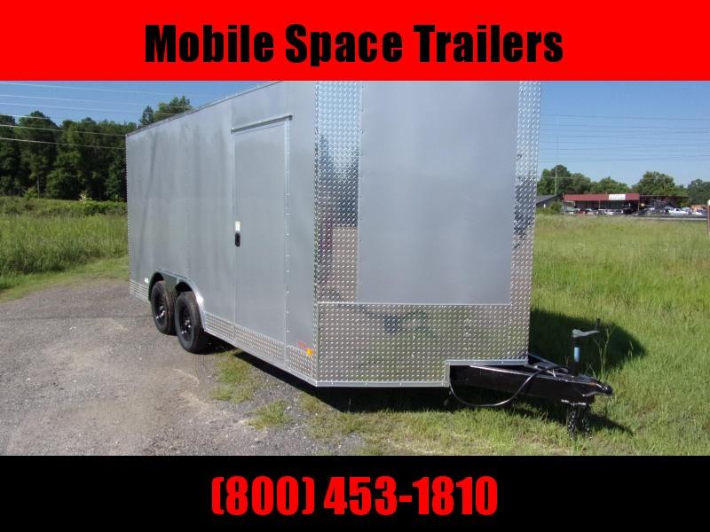 1st Place Cargo 8.5x16 7' Interior ramp door Silver Enclosed Cargo Trailer