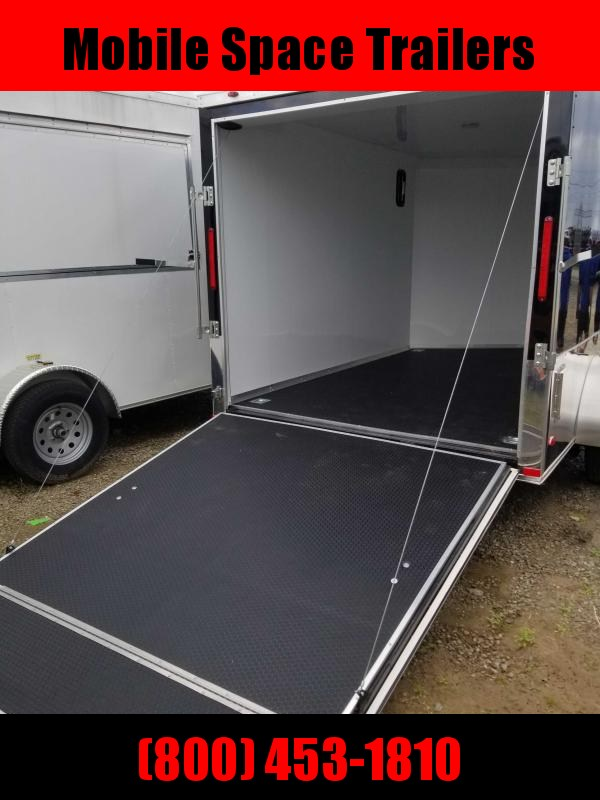 finished interior 7x10 MCP ramp door Black Enclosed Cargo Trailer