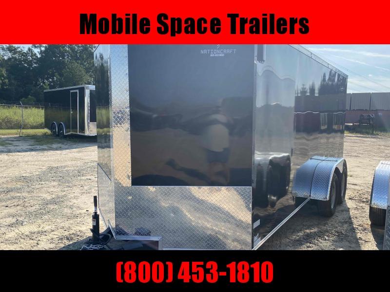 Trailer 7x16 7' Black W Ramp Door Enclosed Cargo screwlessTrailer
