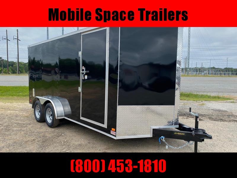 Covered Wagon Trailers 7x16 Black ramp door Side Vents & D-Rings Enclosed Cargo Trailer