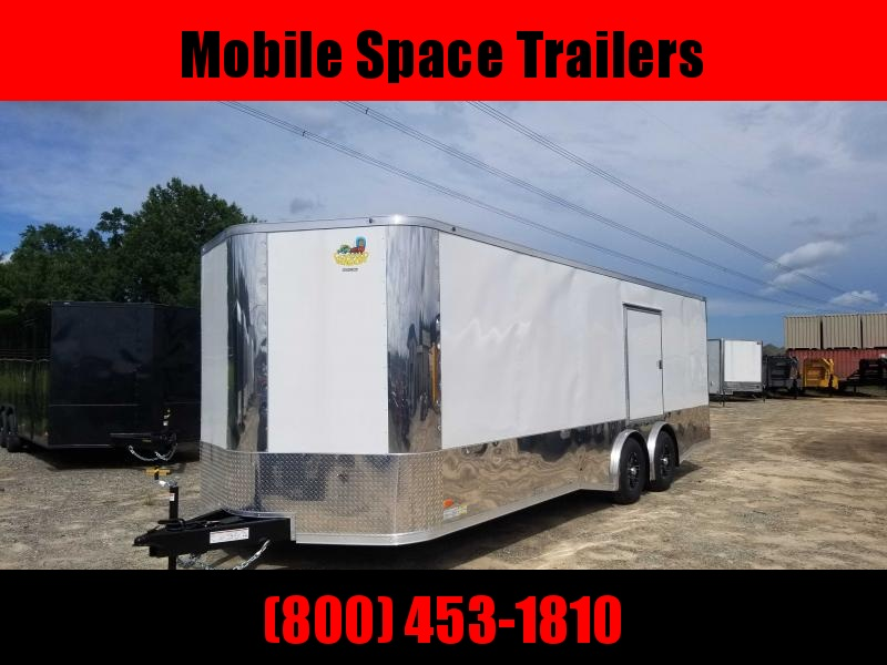 Covered Wagon Trailers 8.5x24 MCP white Spread axles ramp door Enclosed Cargo