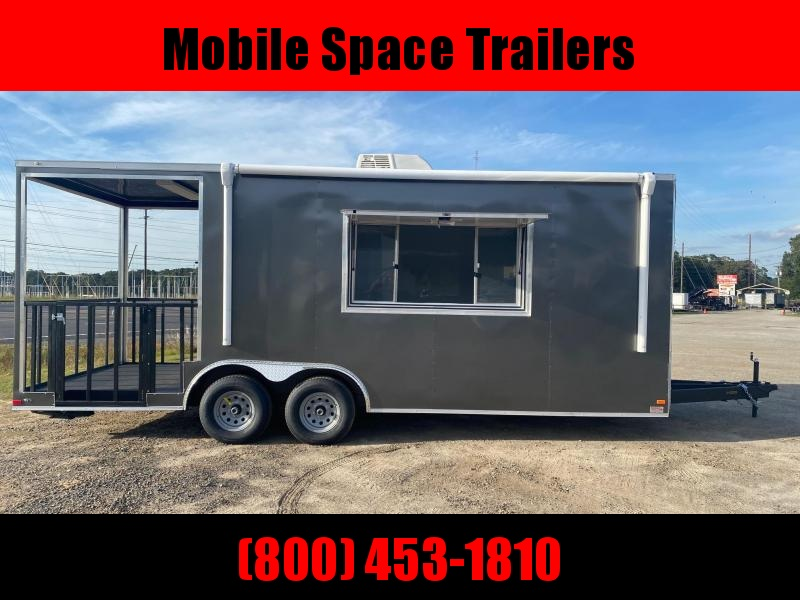8.5X20 Charcoal 7' Interior Height w/ 6' Porch Vending / Concession Trailer
