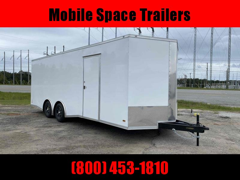 """Covered Wagon Trailers 8.5x24  7'6"""" hgt White Spread axles ramp door Enclosed Cargo"""