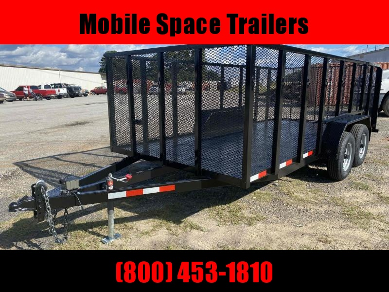 82X16 10K Tandem 4' Mesh Side Wood Deck Utility Trailer
