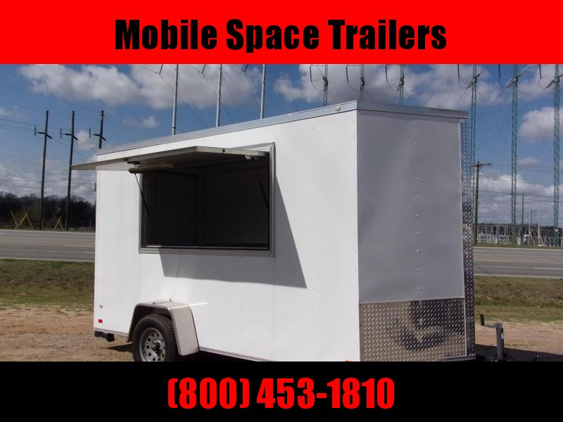 Covered Wagon Trailers 6x12 7' 3x6 Window White Vending Enclosed Cargo Concesion