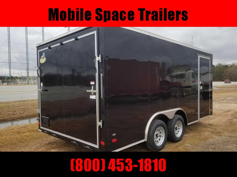 "1st Place Cargo 8.5x16 6'6"" Interior ramp door BLACK Enclosed Cargo Trailer"