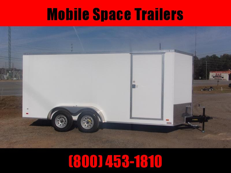 Trailer 7x16 6'6 White W Ramp Door Enclosed Cargo screwlessTrailer