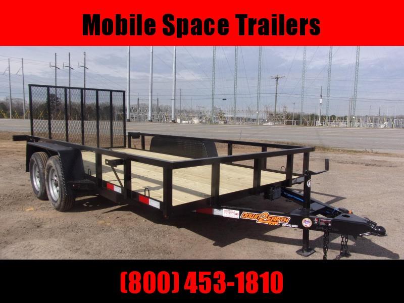 Down 2 Earth Trailers 76x14TA Wood Deck Tandem Utility Trailer