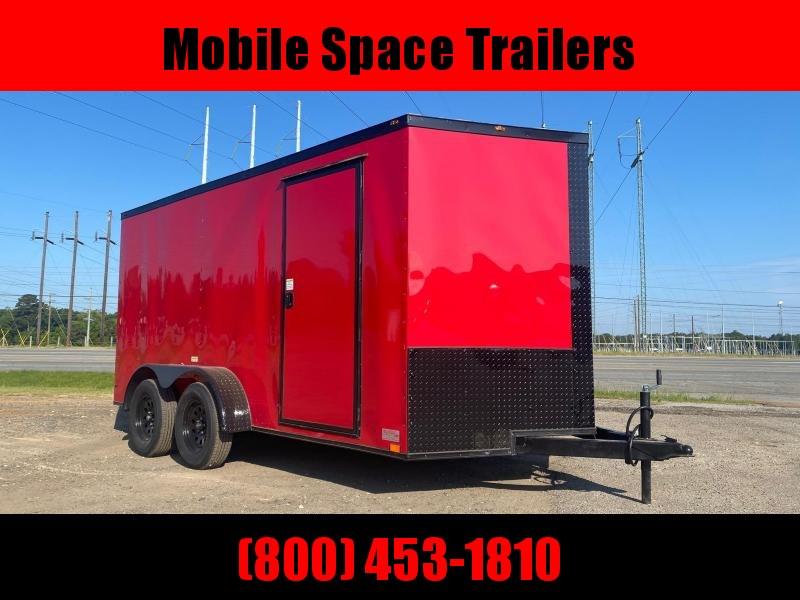 7X14 7k RED Blackout Tandem Ramp Door Enclosed Cargo Trailer