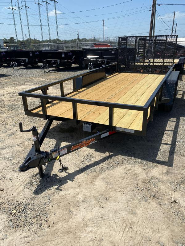 Down 2 Earth Trailers 76x14TA Wood Deck Tandem Utility Trailer