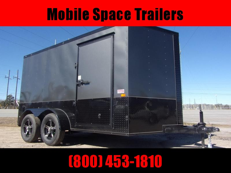 Covered Wagon Trailers 7X12 030 Charcoal Blackout Tadem Axle Motorcycle Package SemiScrewless Enclosed Cargo Trailer