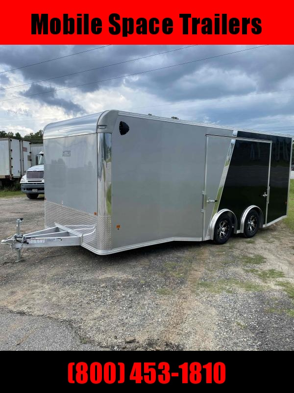 8.5X20 Aluminum Enclosed Black & Silver car haulert trailer