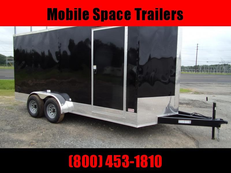 Trailer 7x16 7' 10k Black W Ramp Door Enclosed Cargo screwlessTrailer