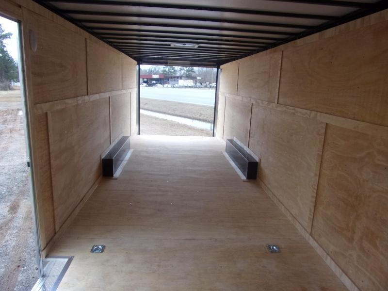 Covered Wagon Trailer 8.5x28 10k Black Carhauler w/ ramp door Enclosed Cargo