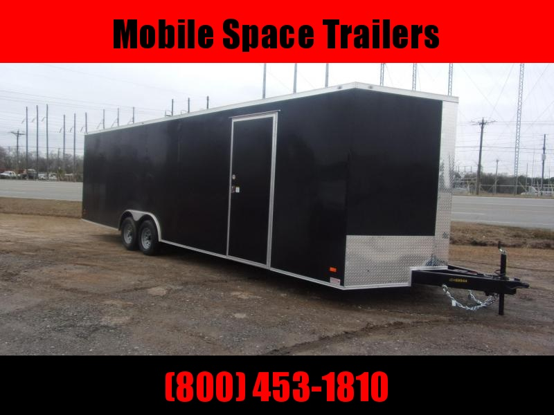 Covered Wagon Trailer 8.5x28 10k Black Carhauler w/ ramp door Enclosed Cargo