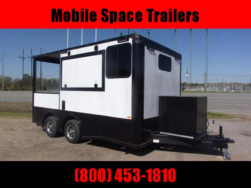 8.5x16 enclosed cargo Black-Out 3x6 glass and sceen Concession Vending Concession Trailer