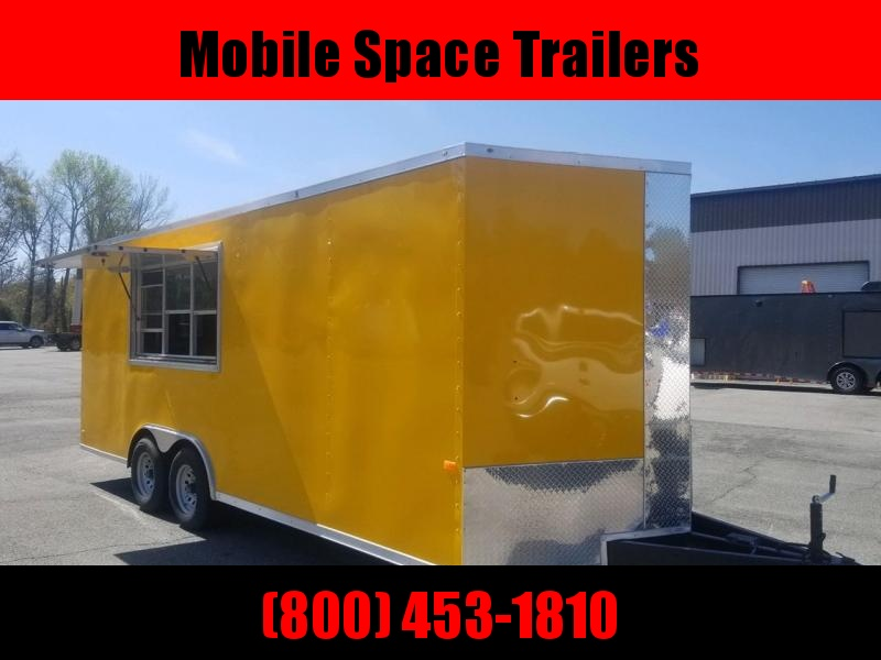 Rock Solid Cargo 8 5X20 Yellow w/ Glass Screen Vending Concession Trailer