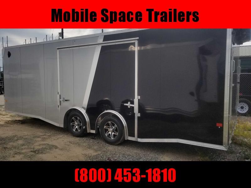 Aluminum 8.5x24 Tandem Axle Bk and Silver Enclosed Car hauler / Racing Trailer