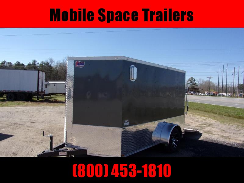 2 bike motorcycle trailer 7x10 MCP ramp door  Gray Enclosed Cargo