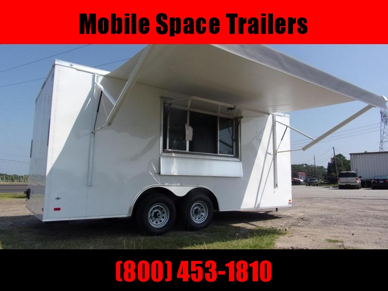 8.5x18 enclosed cargo 3x6 glass and sceen W/ Awning Concession Vending Concession Trailer