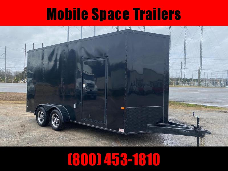 Covered Wagon 7X16 7k Blackout Tandem Ramp Door Electric Pkg Finished Enclosed Cargo Trailer