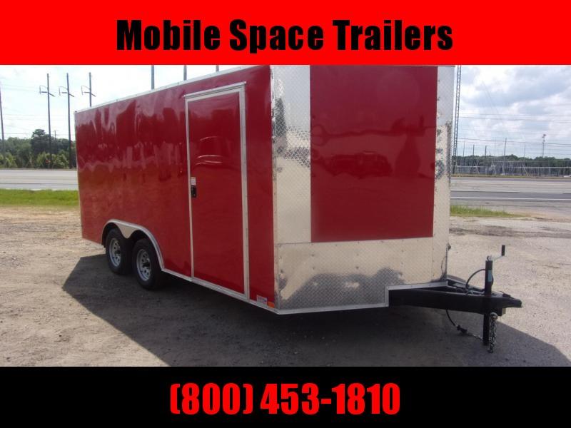 """1st Place Cargo 8.5x16 Red 6'6"""" Interior ramp door Enclosed Cargo Trailer"""