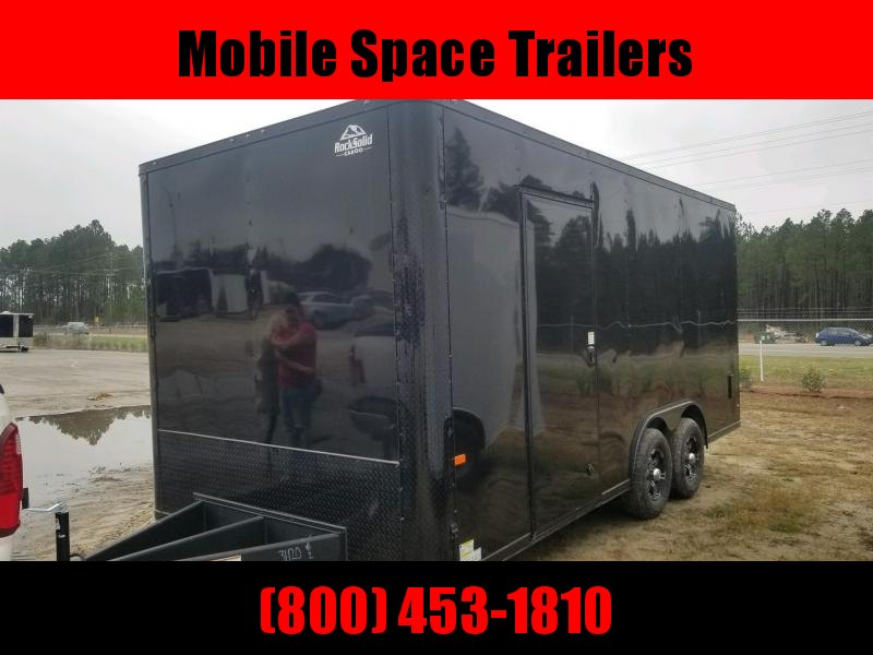 8.5x18 10k Black Blackout 4x3 & 3x6 w/ glass and sceen enclosed cargo Concession Vending Trailer