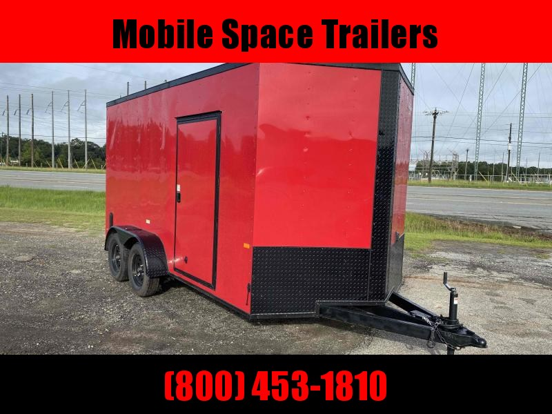 2020 Covered Wagon Trailers 7X14 7k Red Blackout Tandem Ramp Door Enclosed Cargo Trailer