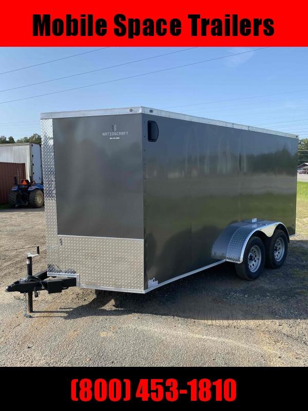 """Trailer 7x14 6'3"""" charcoal W/ Ramp Door Enclosed Cargo screwlessTrailer"""