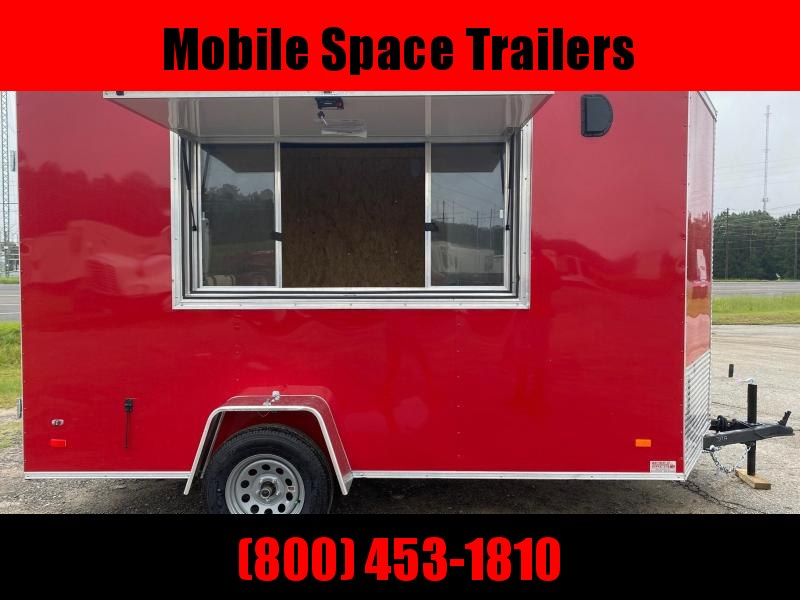 Covered Wagon Trailers 6x12 7' 3x6 Glass & Screen Window  Red vending Enclosed Cargo Concesion