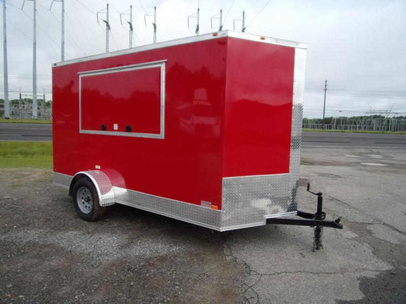 6x12 3x6 Window Red Enclosed Cargo Concesion