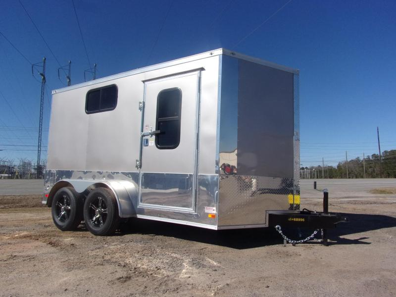 Covered Wagon Trailer 7x12 Silver Motorcycle PKG w/ Windows Enclosed Cargo Trailer
