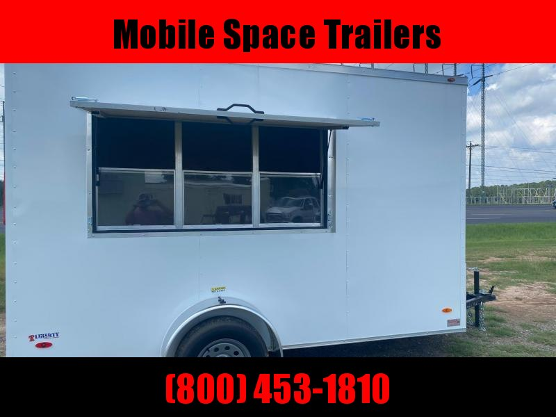 """Covered Wagon Trailers 6x12 7'3"""" 3x6 Window W/ Glass & Screen White Vending Enclosed Cargo Concesion"""