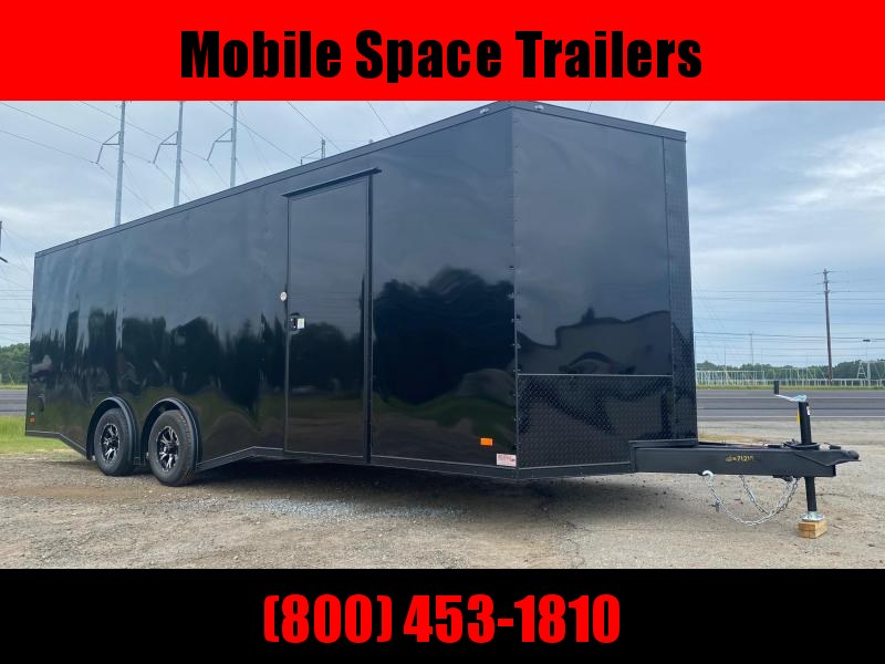 Covered Wagon Trailers 8.5x24  7' Black Blackout Spread axles ramp door Enclosed Cargo