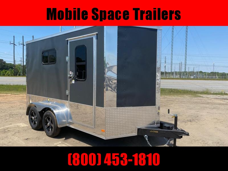 Covered Wagon Trailer 7x12 Charcoal Motorcycle PKG w/ Windows Enclosed Cargo Trailer