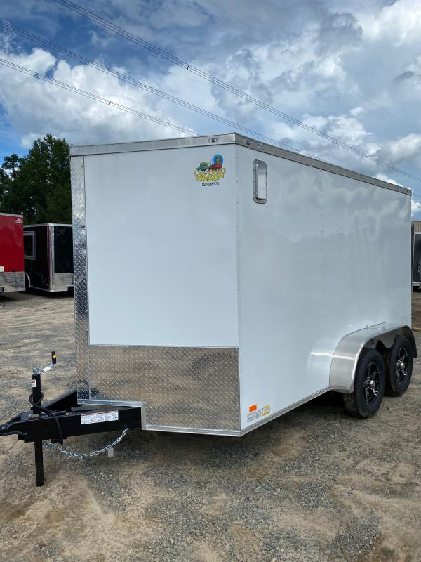2020 Covered Wagon 7X12 White Motocycle Package Enclosed Cargo Trailer