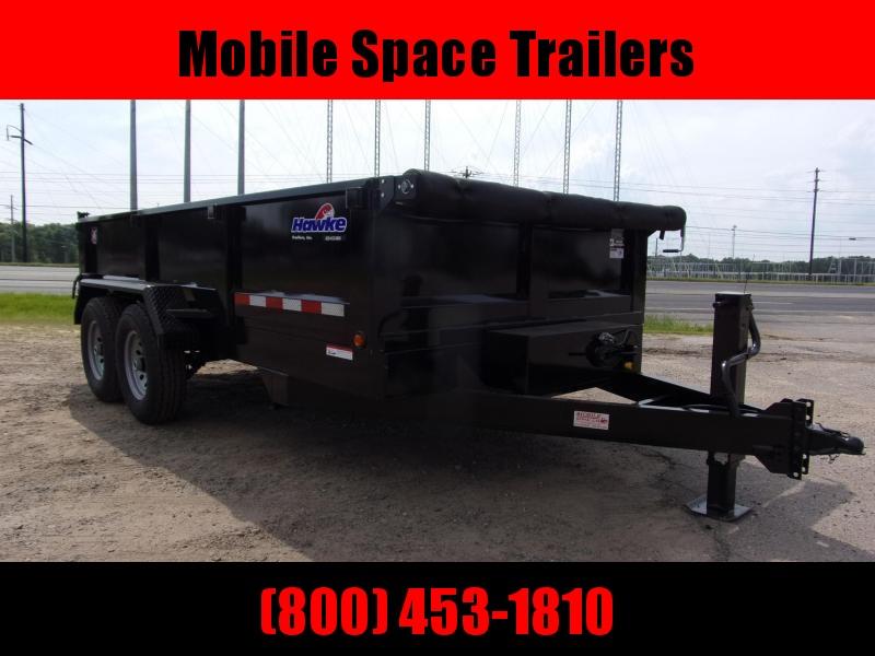Hawke 7x14 24 high side 14k Low Pro Dump Trailer w Tarp
