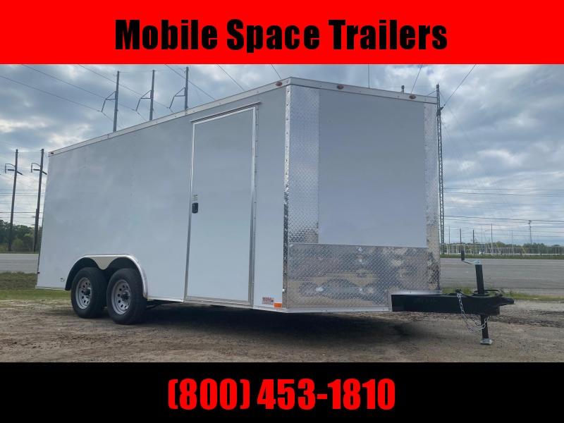 """1st Place Cargo 8.5x16 6'6"""" Interior ramp door White Enclosed Cargo Trailer"""