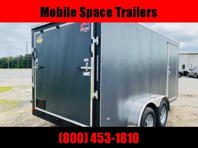 """Trailer 7x14 6'6"""" Charcoal W/ Ramp Door Enclosed Cargo screwlessTrailer"""
