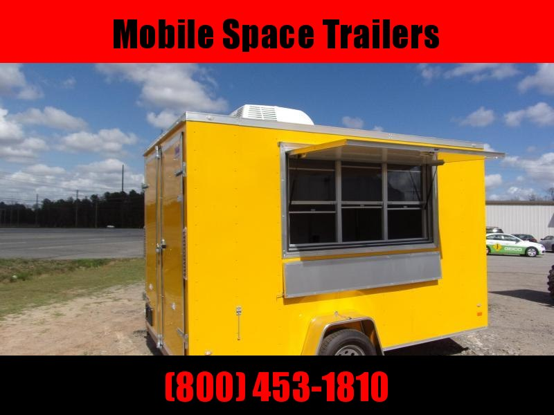 Covered Wagon Trailers 7x12 7' 3x6 Window Yellow Vending Enclosed Cargo Concesion