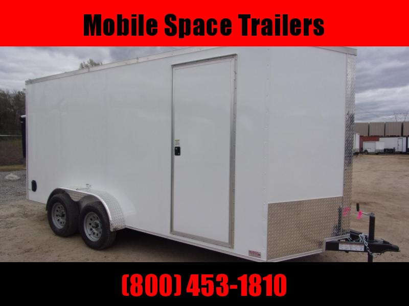 Trailer 7x16 7FT white W Ramp Door Enclosed Cargo screwlessTrailer