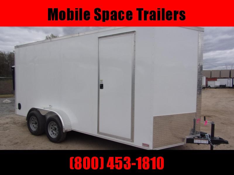 Trailer 7x16 7FT white W Ramp Door Enclosed Cargo screwlessTrailer