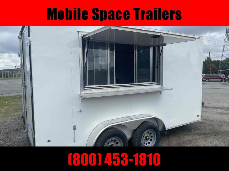 7X14 White Finished Interior Electrical A/C Vending / Concession Trailer