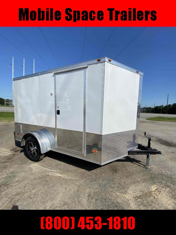 2 bike motorcycle trailer 7x10 MCP ramp door  White Enclosed Cargo