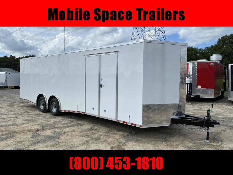 8.5x28 white Spread axles ramp door Enclosed Cargo14k GVWR