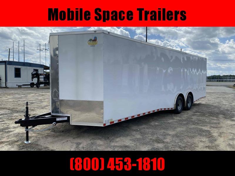 8.5x28 white Spread axles ramp door Enclosed Cargo14k GVWR