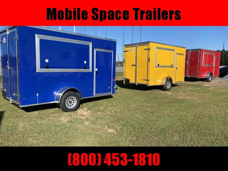 6x12 7' 3x6 Window Blue Enclosed Cargo Concesion